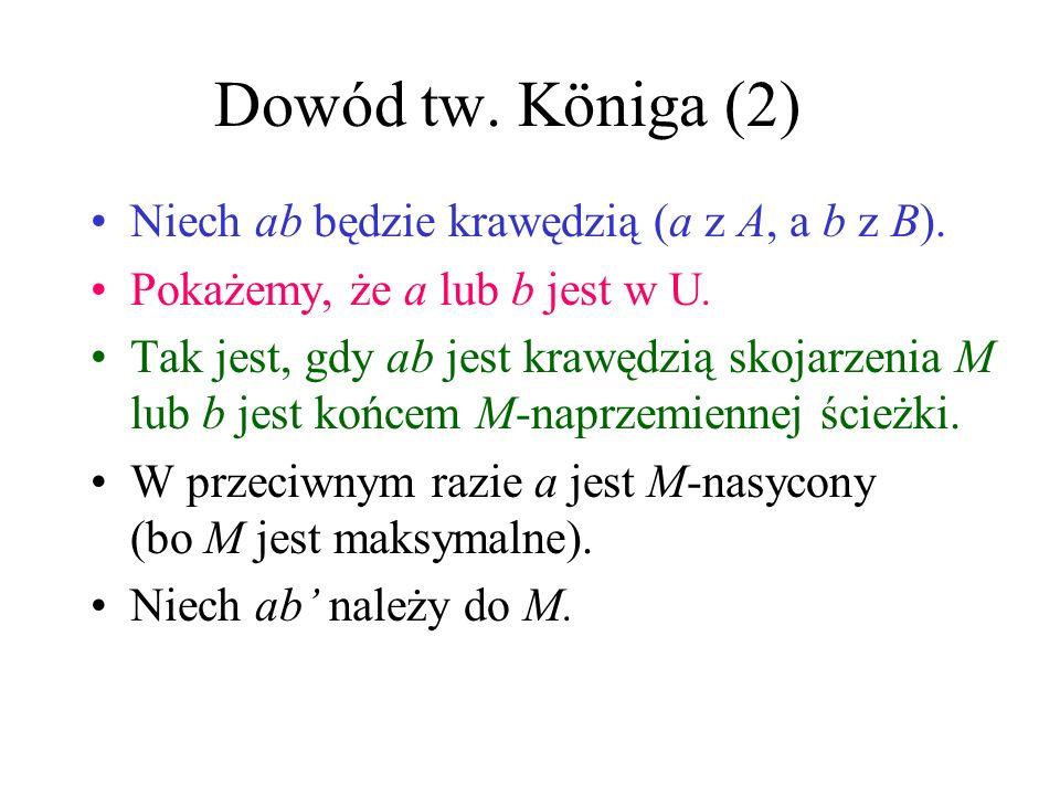 Dowód tw.Königa (2) Niech ab będzie krawędzią (a z A, a b z B).