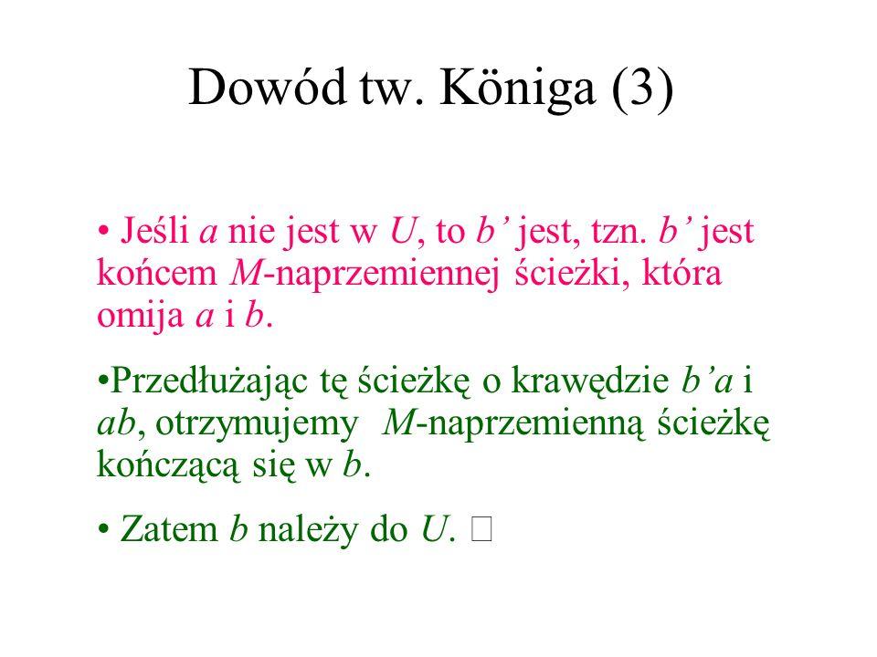 Dowód tw. Königa (2) Niech ab będzie krawędzią (a z A, a b z B). Pokażemy, że a lub b jest w U. Tak jest, gdy ab jest krawędzią skojarzenia M lub b je