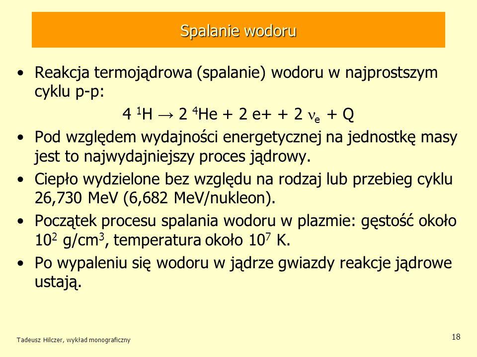 Tadeusz Hilczer, wykład monograficzny 18 Spalanie wodoru Reakcja termojądrowa (spalanie) wodoru w najprostszym cyklu p-p: 4 1 H 2 4 He + 2 e+ + 2 e +