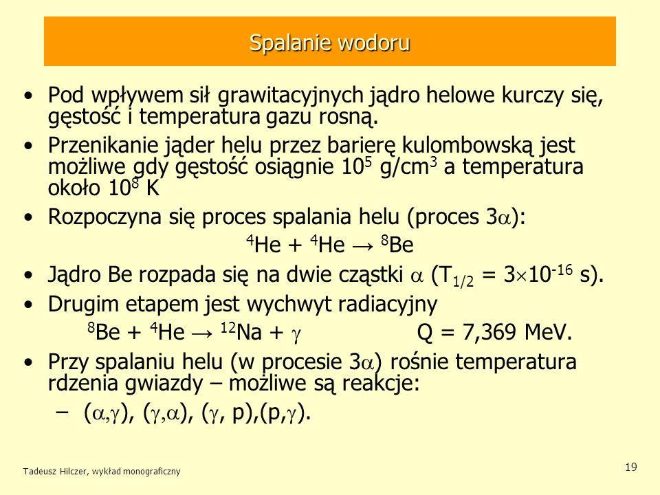 Tadeusz Hilczer, wykład monograficzny 19 Spalanie wodoru Pod wpływem sił grawitacyjnych jądro helowe kurczy się, gęstość i temperatura gazu rosną. Prz