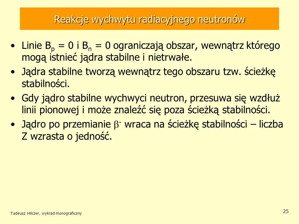 Tadeusz Hilczer, wykład monograficzny 25 Reakcje wychwytu radiacyjnego neutronów Linie B p = 0 i B n = 0 ograniczają obszar, wewnątrz którego mogą ist