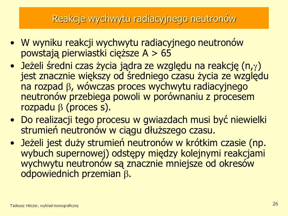 Tadeusz Hilczer, wykład monograficzny 26 Reakcje wychwytu radiacyjnego neutronów W wyniku reakcji wychwytu radiacyjnego neutronów powstają pierwiastki