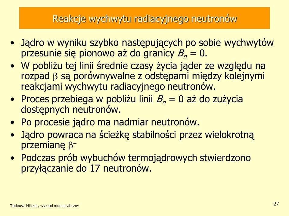 Tadeusz Hilczer, wykład monograficzny 27 Reakcje wychwytu radiacyjnego neutronów Jądro w wyniku szybko następujących po sobie wychwytów przesunie się