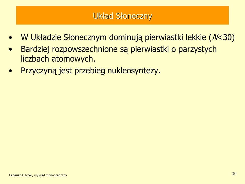 Tadeusz Hilczer, wykład monograficzny 30 Układ Słoneczny W Układzie Słonecznym dominują pierwiastki lekkie (N<30) Bardziej rozpowszechnione są pierwia