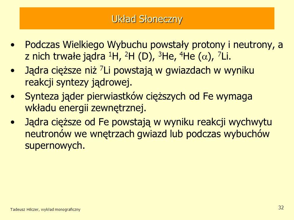 Tadeusz Hilczer, wykład monograficzny 32 Układ Słoneczny Podczas Wielkiego Wybuchu powstały protony i neutrony, a z nich trwałe jądra 1 H, 2 H (D), 3