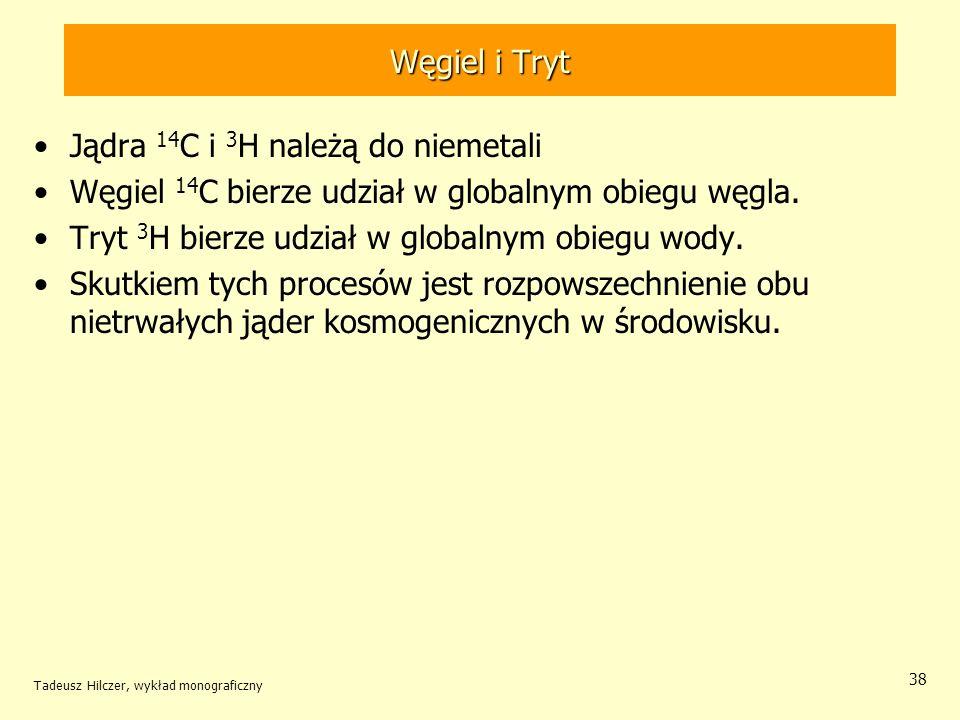 Tadeusz Hilczer, wykład monograficzny 38 Węgiel i Tryt Jądra 14 C i 3 H należą do niemetali Węgiel 14 C bierze udział w globalnym obiegu węgla. Tryt 3