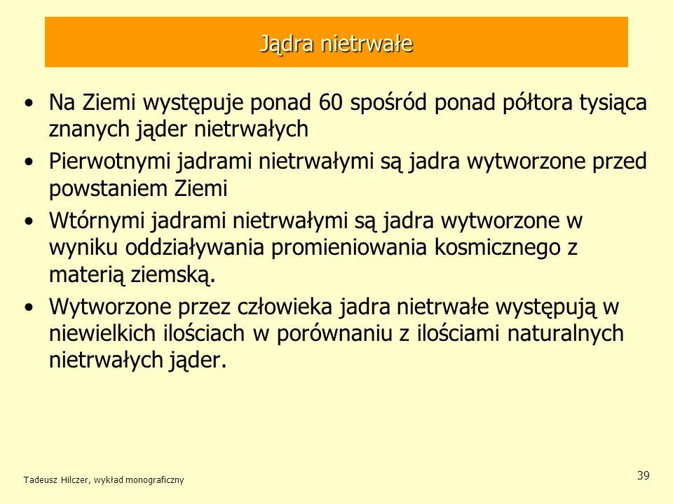 Tadeusz Hilczer, wykład monograficzny 39 Jądra nietrwałe Na Ziemi występuje ponad 60 spośród ponad półtora tysiąca znanych jąder nietrwałych Pierwotny