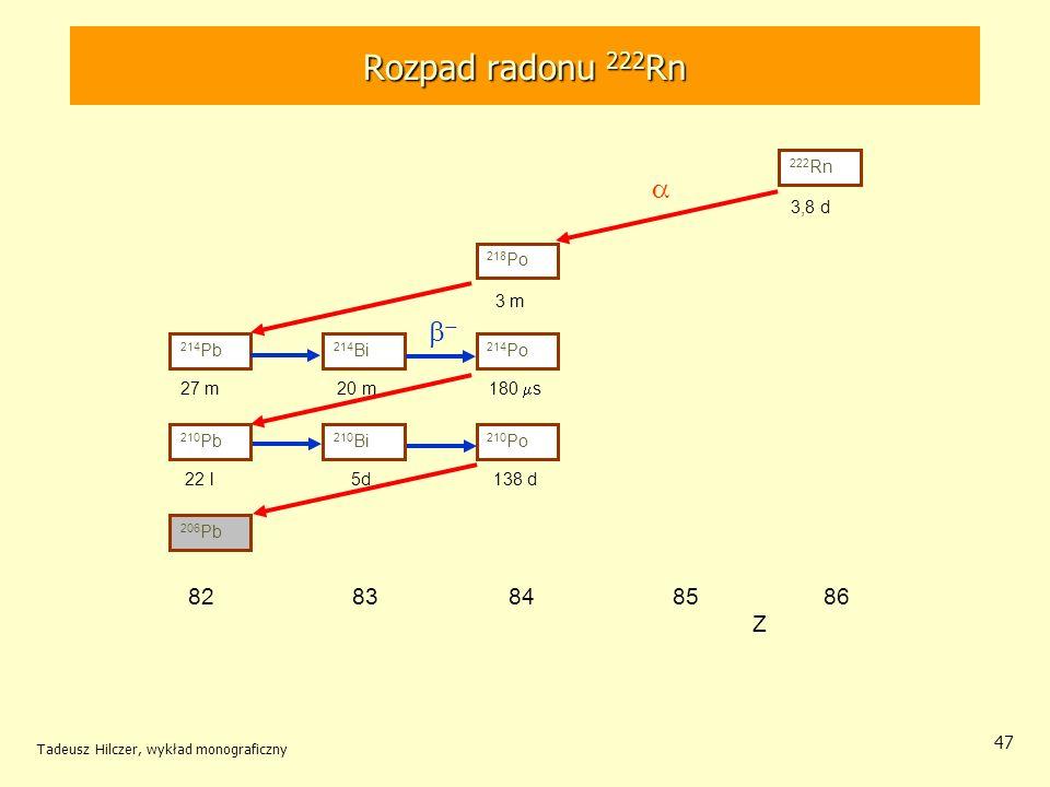 Tadeusz Hilczer, wykład monograficzny 47 Rozpad radonu 222 Rn 222 Rn 210 Pb 206 Pb 214 Pb 210 Bi 214 Bi 214 Po 210 Po 218 Po 82 83 84 85 86 Z 3,8 d 3