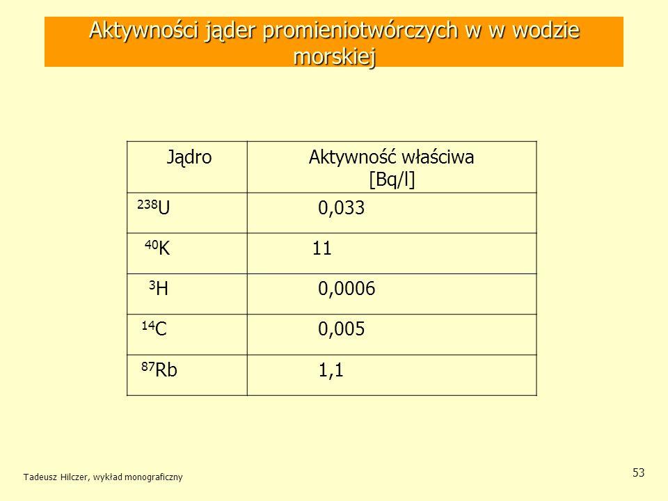 Tadeusz Hilczer, wykład monograficzny 53 Aktywności jąder promieniotwórczych w w wodzie morskiej JądroAktywność właściwa [Bq/l] 238 U 0,033 40 K 11 3