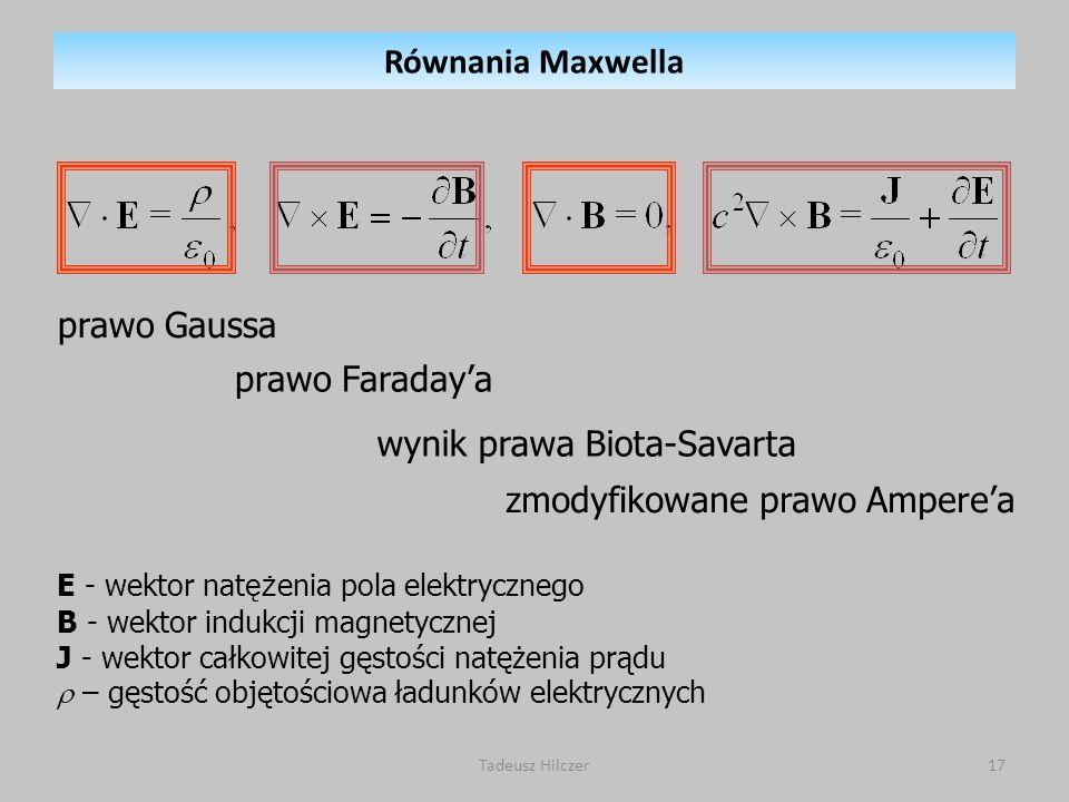 prawo Gaussa prawo Faradaya wynik prawa Biota-Savarta zmodyfikowane prawo Amperea E - wektor nat ęż enia pola elektrycznego B - wektor indukcji magnet