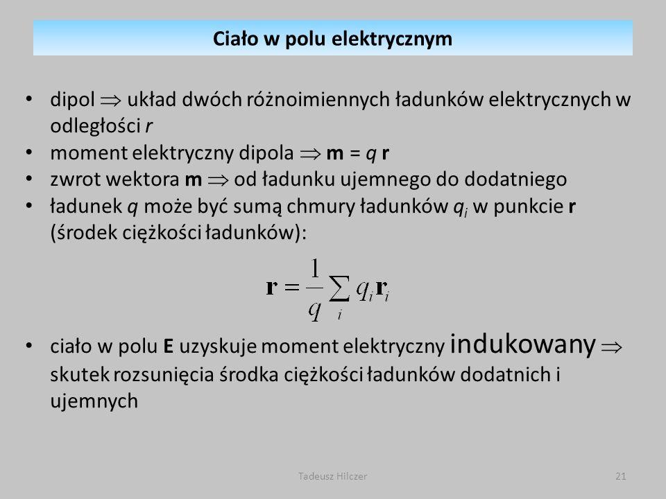 dipol układ dwóch różnoimiennych ładunków elektrycznych w odległości r moment elektryczny dipola m = q r zwrot wektora m od ładunku ujemnego do dodatn