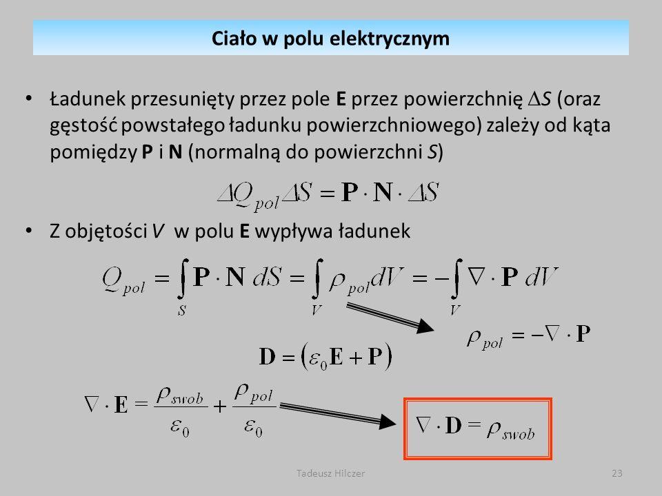 Ładunek przesunięty przez pole E przez powierzchnię S (oraz gęstość powstałego ładunku powierzchniowego) zależy od kąta pomiędzy P i N (normalną do po