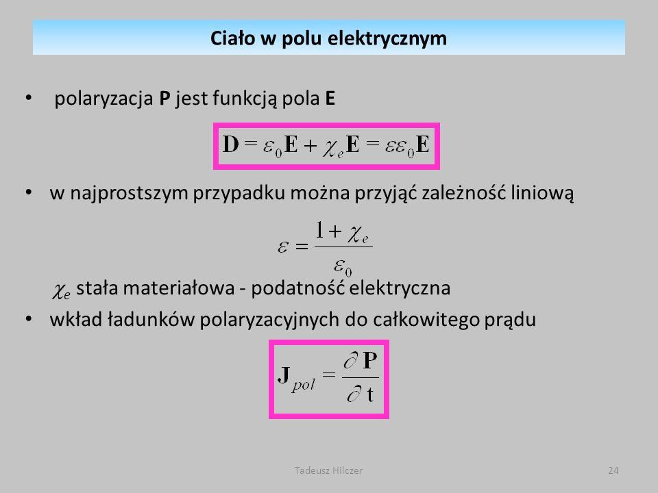 polaryzacja P jest funkcją pola E w najprostszym przypadku można przyjąć zależność liniową e stała materiałowa - podatność elektryczna wkład ładunków