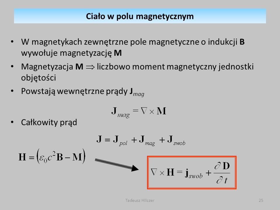 W magnetykach zewnętrzne pole magnetyczne o indukcji B wywołuje magnetyzację M Magnetyzacja M liczbowo moment magnetyczny jednostki objętości Powstają