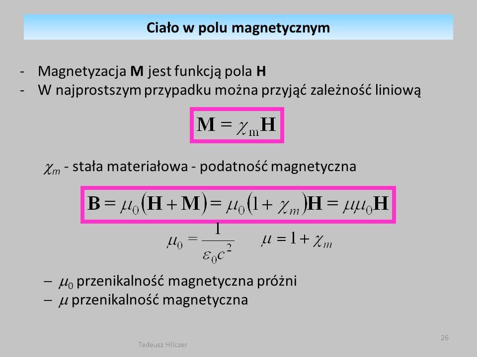 -Magnetyzacja M jest funkcją pola H -W najprostszym przypadku można przyjąć zależność liniową m - stała materiałowa - podatność magnetyczna 0 przenika