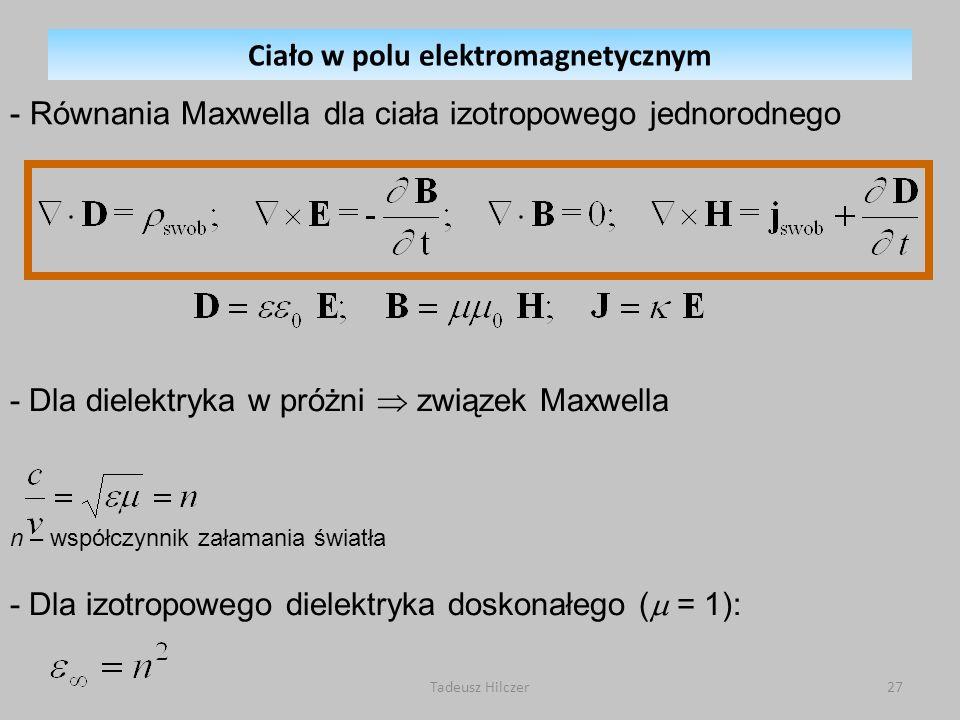 - Równania Maxwella dla ciała izotropowego jednorodnego - Dla dielektryka w próżni związek Maxwella n – współczynnik załamania światła - Dla izotropow