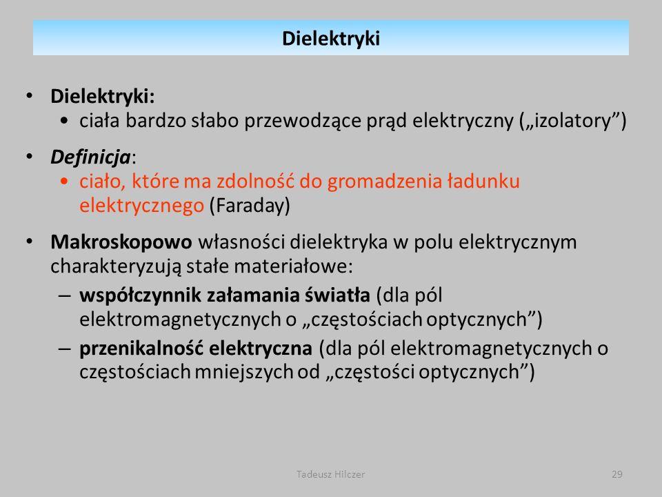 Dielektryki: ciała bardzo słabo przewodzące prąd elektryczny (izolatory) Definicja: ciało, które ma zdolność do gromadzenia ładunku elektrycznego (Far