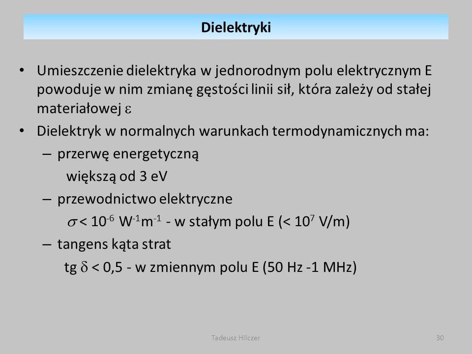 Umieszczenie dielektryka w jednorodnym polu elektrycznym E powoduje w nim zmianę gęstości linii sił, która zależy od stałej materiałowej Dielektryk w