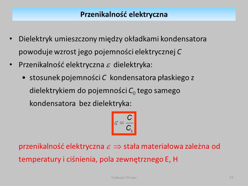 Dielektryk umieszczony między okładkami kondensatora powoduje wzrost jego pojemności elektrycznej C Przenikalność elektryczna dielektryka: stosunek po