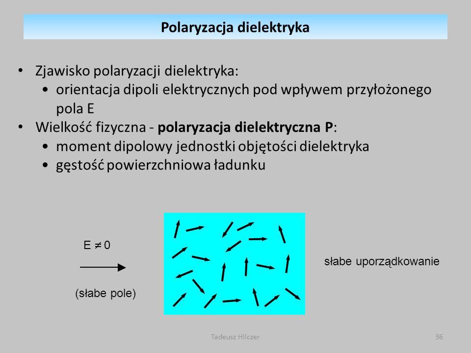 E 0 (słabe pole) słabe uporządkowanie Polaryzacja dielektryka Zjawisko polaryzacji dielektryka: orientacja dipoli elektrycznych pod wpływem przyłożone