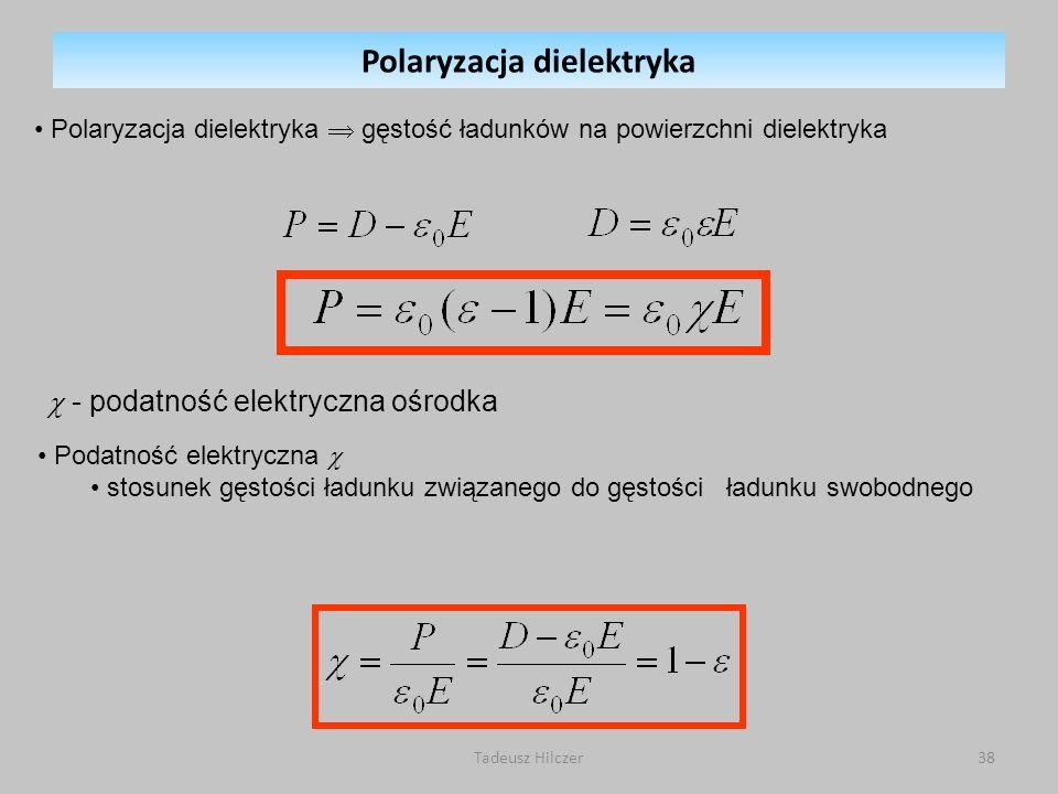 Polaryzacja dielektryka gęstość ładunków na powierzchni dielektryka - podatność elektryczna ośrodka Podatność elektryczna stosunek gęstości ładunku zw