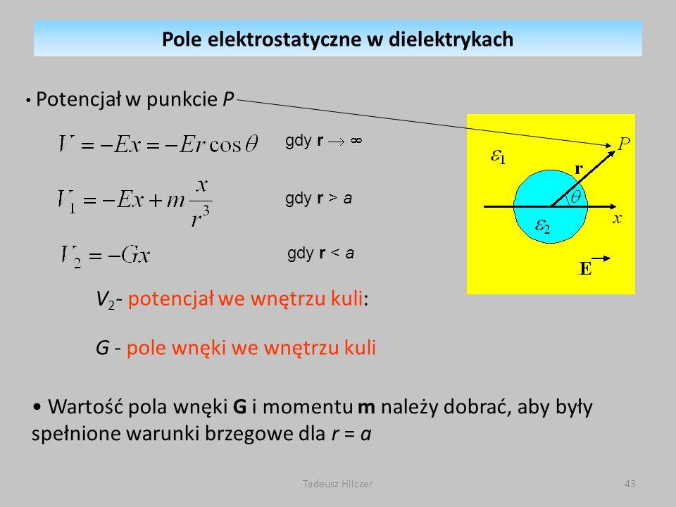 Potencjał w punkcie P V 2 - potencjał we wnętrzu kuli: G - pole wnęki we wnętrzu kuli Wartość pola wnęki G i momentu m należy dobrać, aby były spełnio
