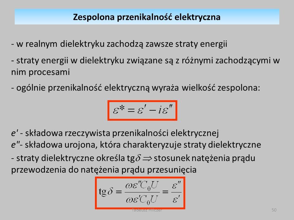 - straty energii w dielektryku związane są z różnymi zachodzącymi w nim procesami - ogólnie przenikalność elektryczną wyraża wielkość zespolona: e' -