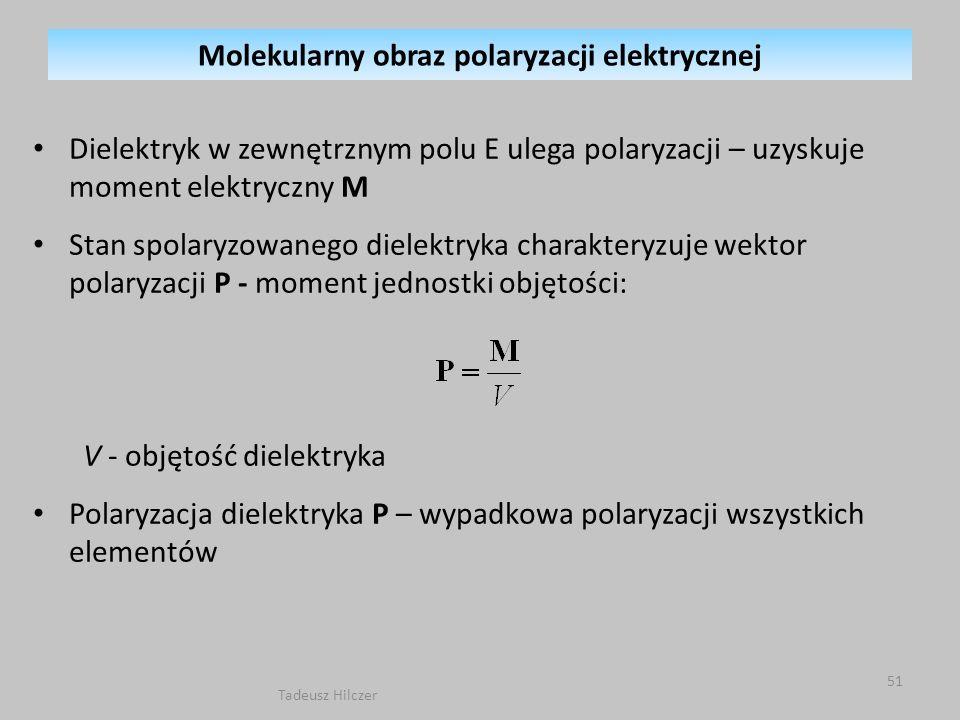 Dielektryk w zewnętrznym polu E ulega polaryzacji – uzyskuje moment elektryczny M Stan spolaryzowanego dielektryka charakteryzuje wektor polaryzacji P