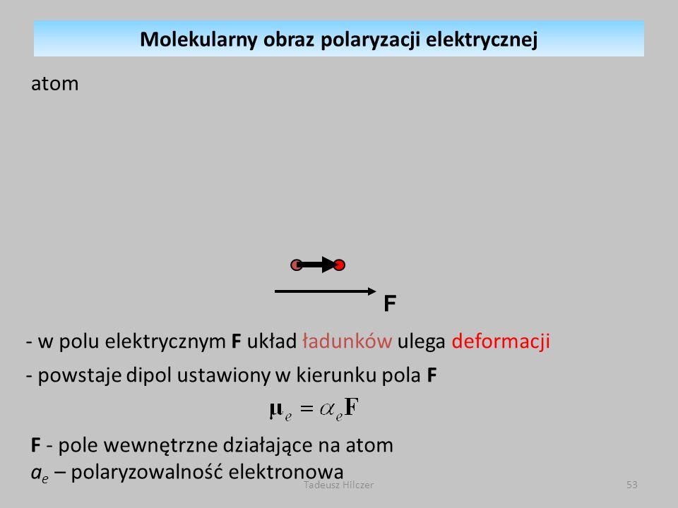 F - pole wewnętrzne działające na atom a e – polaryzowalność elektronowa - w polu elektrycznym F układ ładunków ulega deformacji - powstaje dipol usta