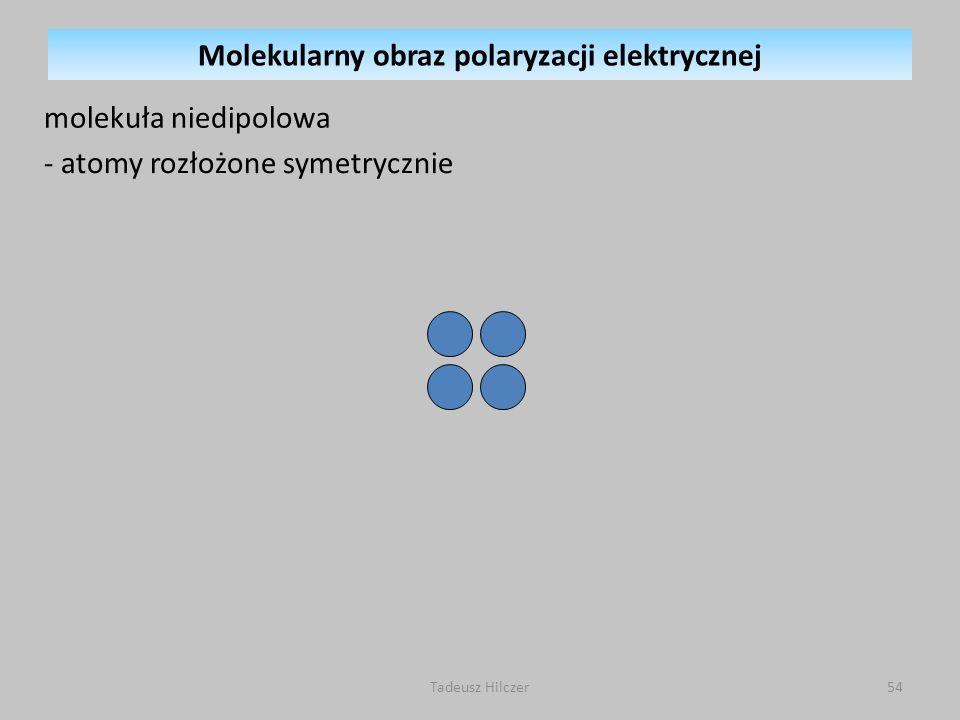 molekuła niedipolowa - atomy rozłożone symetrycznie 54Tadeusz Hilczer Molekularny obraz polaryzacji elektrycznej