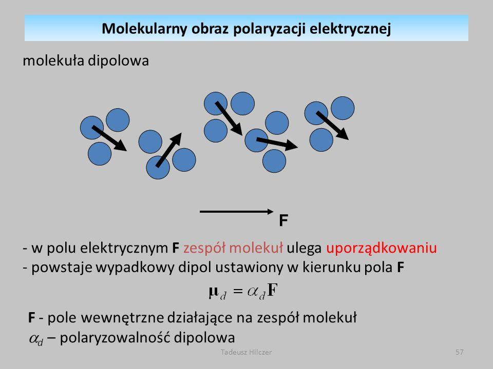 F - pole wewnętrzne działające na zespół molekuł d – polaryzowalność dipolowa - w polu elektrycznym F zespół molekuł ulega uporządkowaniu - powstaje w
