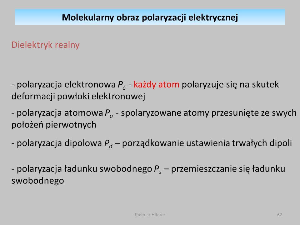 - polaryzacja elektronowa P e - każdy atom polaryzuje się na skutek deformacji powłoki elektronowej - polaryzacja dipolowa P d – porządkowanie ustawie