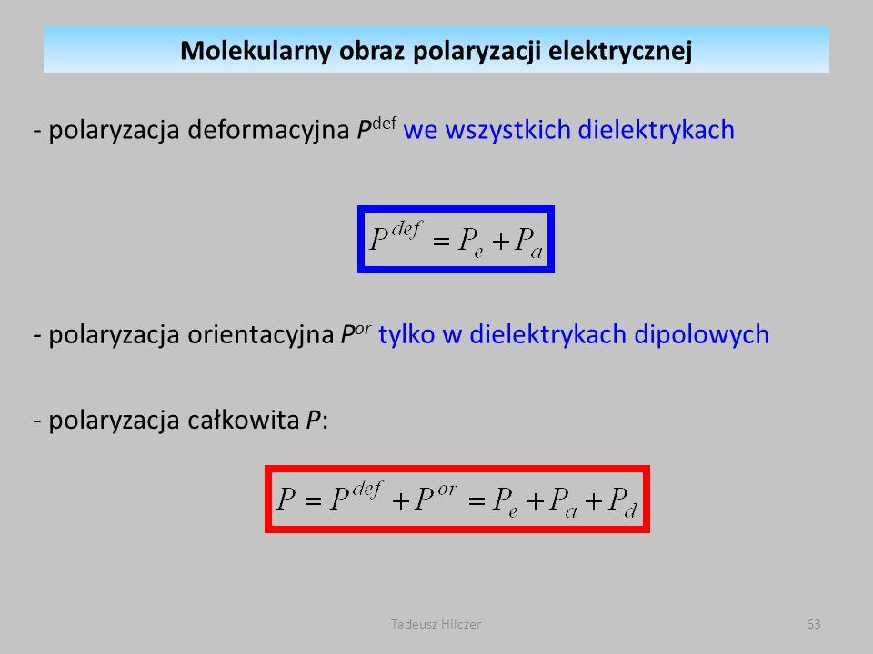 - polaryzacja deformacyjna P def we wszystkich dielektrykach - polaryzacja orientacyjna P or tylko w dielektrykach dipolowych - polaryzacja całkowita