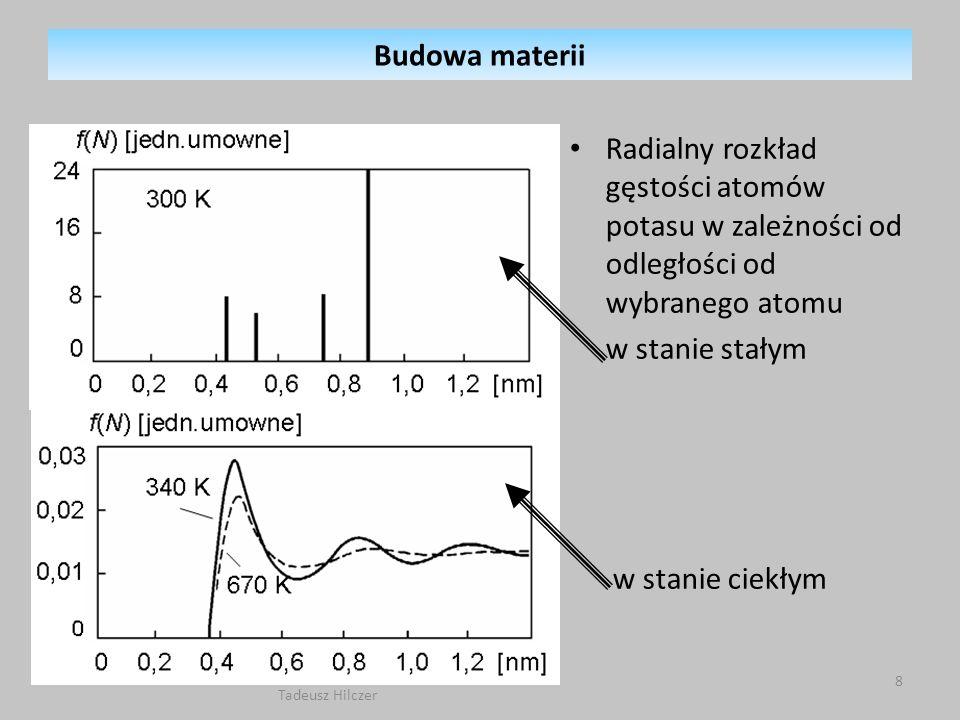 Radialny rozkład gęstości atomów potasu w zależności od odległości od wybranego atomu w stanie stałym w stanie ciekłym Budowa materii 8 Tadeusz Hilcze