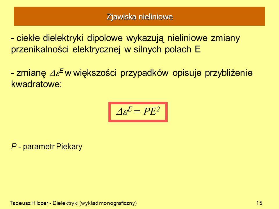 Tadeusz Hilczer - Dielektryki (wykład monograficzny)15 - ciekłe dielektryki dipolowe wykazują nieliniowe zmiany przenikalności elektrycznej w silnych