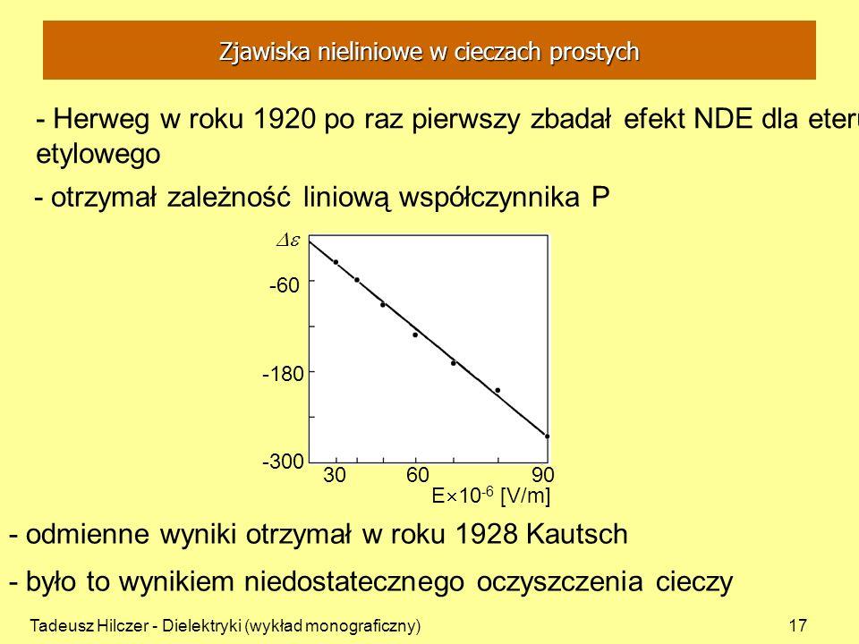 Tadeusz Hilczer - Dielektryki (wykład monograficzny)17 - Herweg w roku 1920 po raz pierwszy zbadał efekt NDE dla eteru etylowego - otrzymał zależność