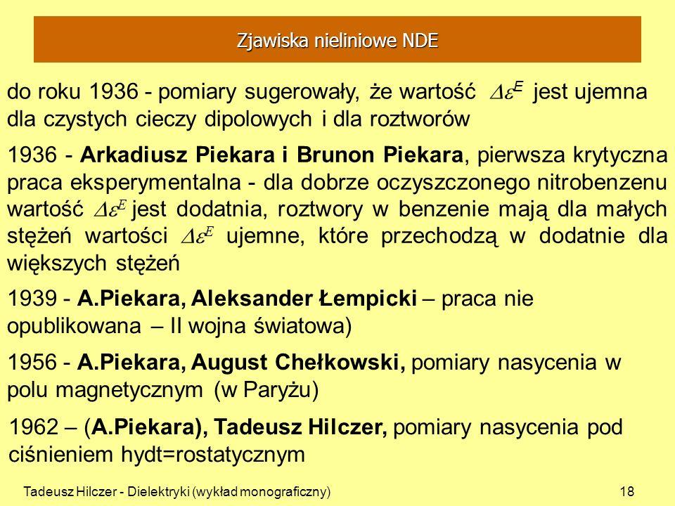 Tadeusz Hilczer - Dielektryki (wykład monograficzny)18 do roku 1936 - pomiary sugerowały, że wartość E jest ujemna dla czystych cieczy dipolowych i dl