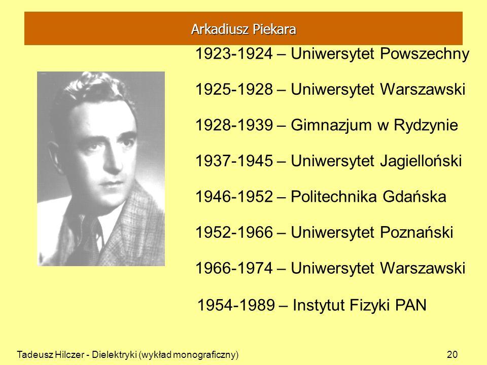 Tadeusz Hilczer - Dielektryki (wykład monograficzny)20 1923-1924 – Uniwersytet Powszechny 1925-1928 – Uniwersytet Warszawski 1928-1939 – Gimnazjum w R