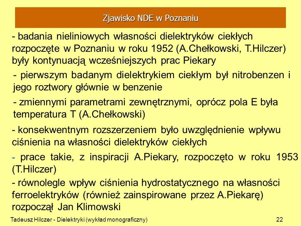 Tadeusz Hilczer - Dielektryki (wykład monograficzny)22 - badania nieliniowych własności dielektryków ciekłych rozpoczęte w Poznaniu w roku 1952 (A.Che