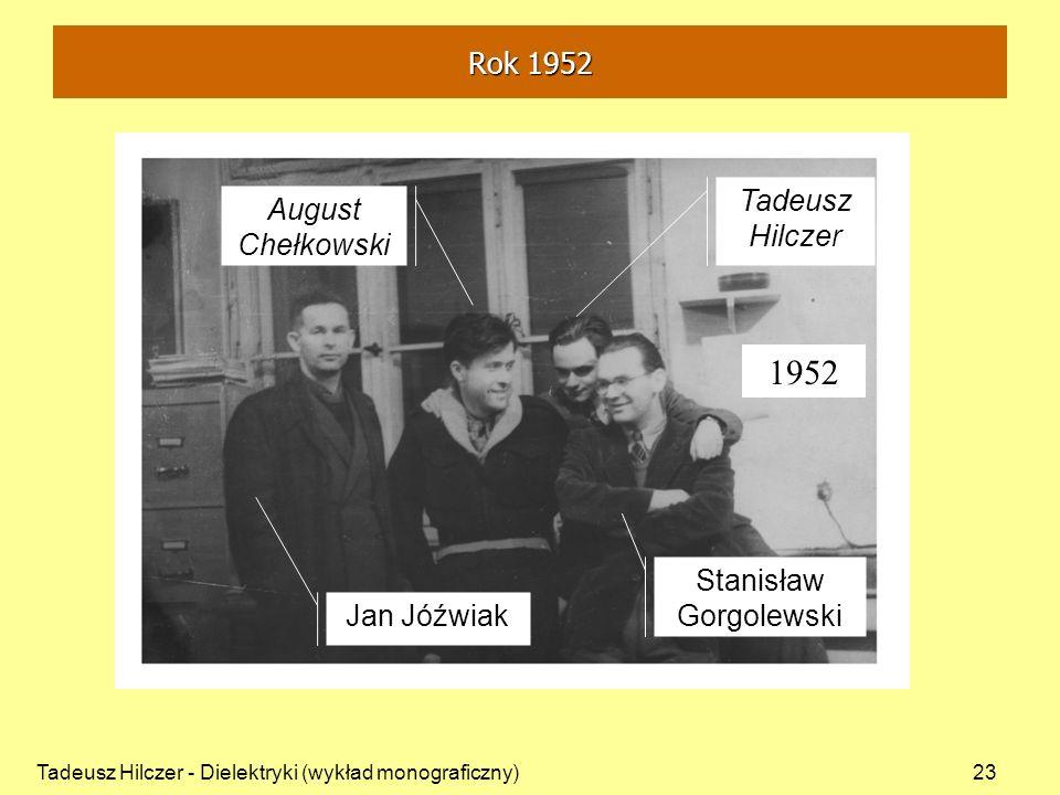 Tadeusz Hilczer - Dielektryki (wykład monograficzny)23 August Chełkowski Jan Jóźwiak Stanisław Gorgolewski Tadeusz Hilczer 1952 Rok 1952