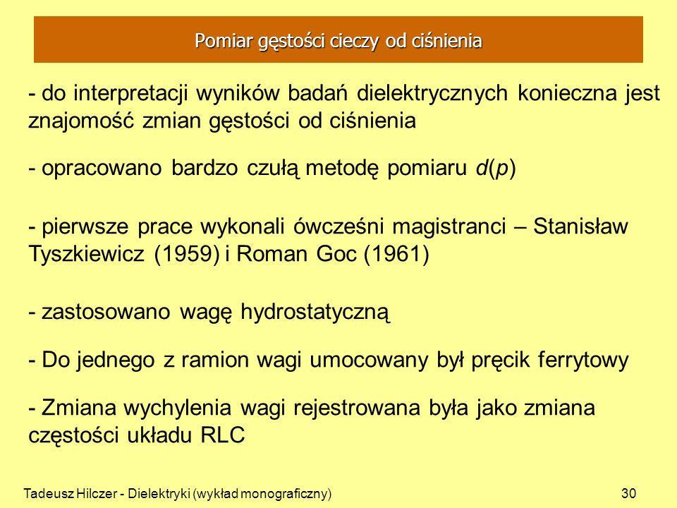 Tadeusz Hilczer - Dielektryki (wykład monograficzny)30 - do interpretacji wyników badań dielektrycznych konieczna jest znajomość zmian gęstości od ciś