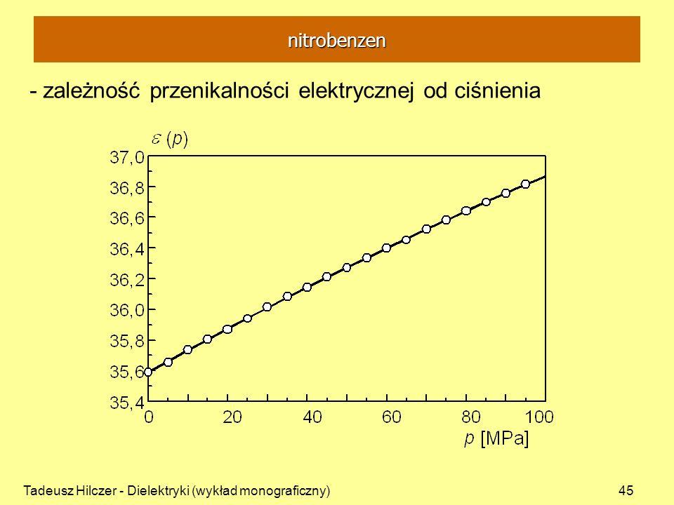 Tadeusz Hilczer - Dielektryki (wykład monograficzny)45 - zależność przenikalności elektrycznej od ciśnienia nitrobenzen
