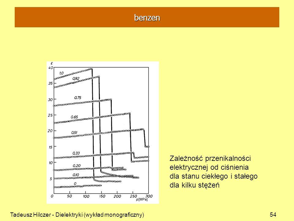 Tadeusz Hilczer - Dielektryki (wykład monograficzny)54 Zależność przenikalności elektrycznej od ciśnienia dla stanu ciekłego i stałego dla kilku stęże
