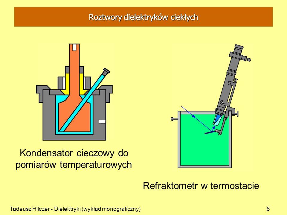 Tadeusz Hilczer - Dielektryki (wykład monograficzny)9 o-nitroanizol C 6 H 4 OCH 3 NO 2 benzen C 6 H 6 OCH 3 NO 2 moment dipolowy [D] 4,82 0 przenikalność elektryczna (293K) 47,912 2,282 gęstość (293K) [g/cm 3 ] 1,2549 0,8791 współczynnik załamania (293K, D) 1,5625 1,5014 temperatura wrzenia [ 0 C] 265 80,1 temperatura krzepnięcia [ 0 C] 9,4 5,5 ciężar cząsteczkowy 153,140 78,108 Roztwory dielektryków ciekłych