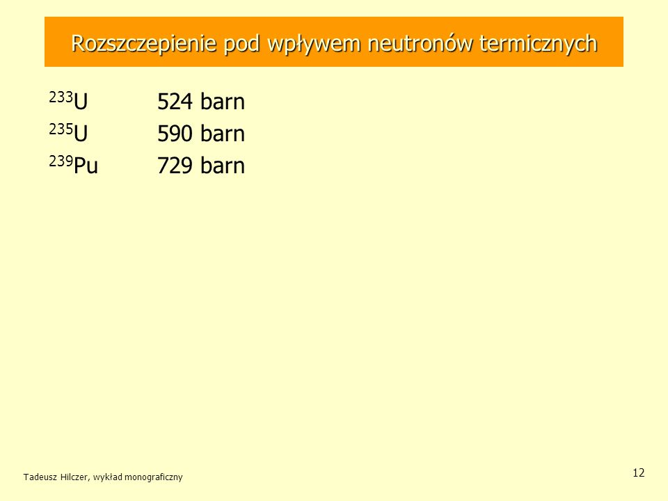 Tadeusz Hilczer, wykład monograficzny 12 Rozszczepienie pod wpływem neutronów termicznych 233 U 524 barn 235 U 590 barn 239 Pu729 barn