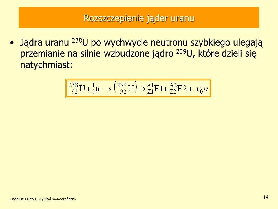 Tadeusz Hilczer, wykład monograficzny 14 Rozszczepienie jąder uranu Jądra uranu 238 U po wychwycie neutronu szybkiego ulegają przemianie na silnie wzb
