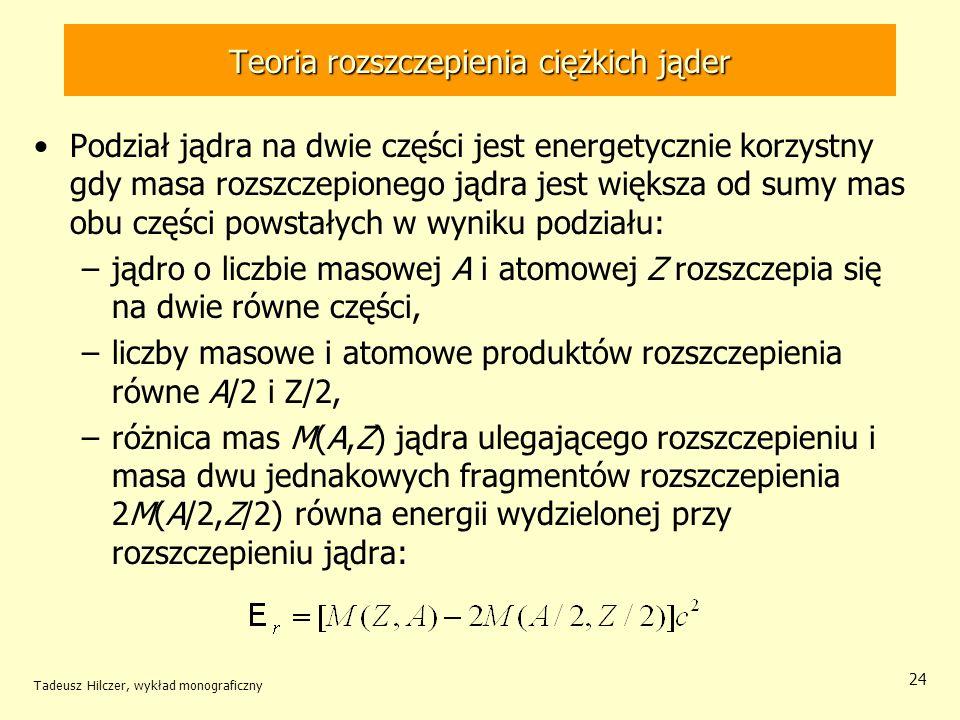 Tadeusz Hilczer, wykład monograficzny 24 Teoria rozszczepienia ciężkich jąder Podział jądra na dwie części jest energetycznie korzystny gdy masa rozsz
