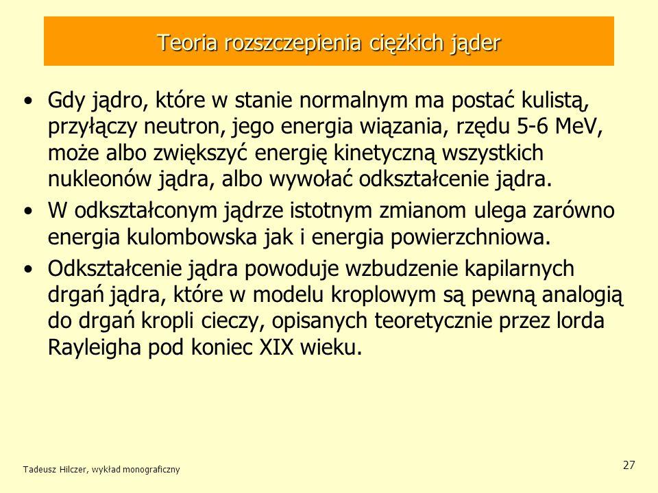 Tadeusz Hilczer, wykład monograficzny 27 Teoria rozszczepienia ciężkich jąder Gdy jądro, które w stanie normalnym ma postać kulistą, przyłączy neutron