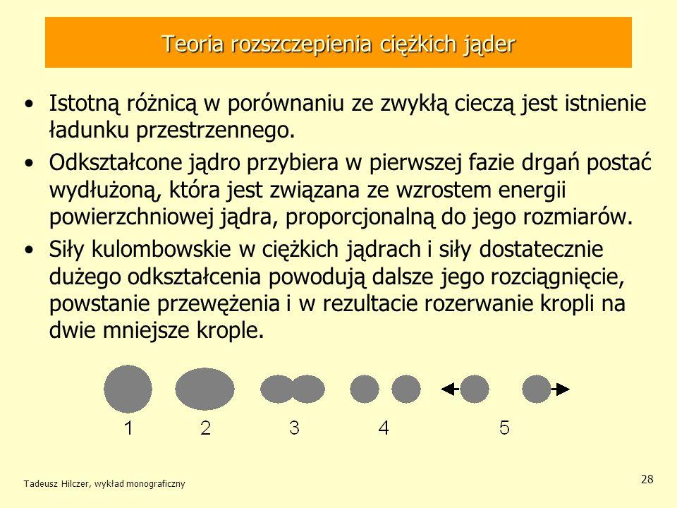 Tadeusz Hilczer, wykład monograficzny 28 Teoria rozszczepienia ciężkich jąder Istotną różnicą w porównaniu ze zwykłą cieczą jest istnienie ładunku prz