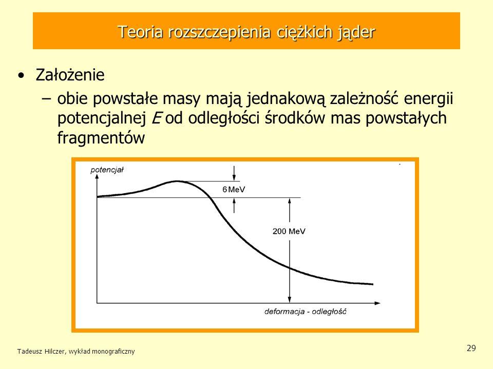 Tadeusz Hilczer, wykład monograficzny 29 Teoria rozszczepienia ciężkich jąder Założenie –obie powstałe masy mają jednakową zależność energii potencjal